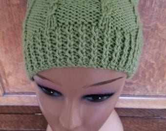 Light Green Knit Slouch Beanie (SALE)