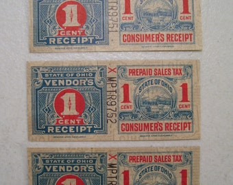 1940's State of Ohio 1 cent Prepaid Vendors Sales Tax Stamps & Receipt, Lot of 3