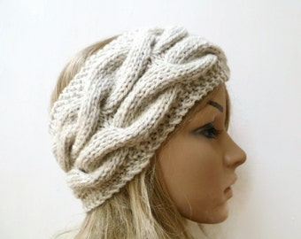 Chunky Wool Cable Headband - Women Knit Headband - Cream Wool Hand Knit Cabled Ear Warmer - Women Braided Headband - Clickclackknits