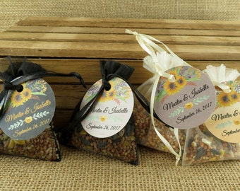 Birdseed Wedding Favors In Natural Burlap Bags With Tags 50