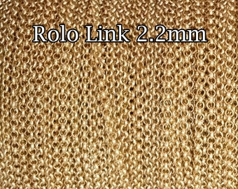 50FT(15mt) Gold Filled chain rolo 2.2mm wholesale , gold rolo Belcher chain bulk , gold fill chain rolo, 25%Discount price quantity chains