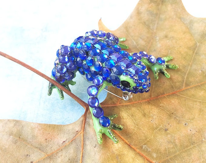 Frog brooch - recycled rubber frog - statement brooch - rhinestones