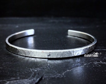 Thick Sterling Silver Cuff / Heavyweight Silver Cuff / Textured Silver Cuff Bracelet / Unisex / Heavy Silver Cuff / 4mm Cuff Bracelet