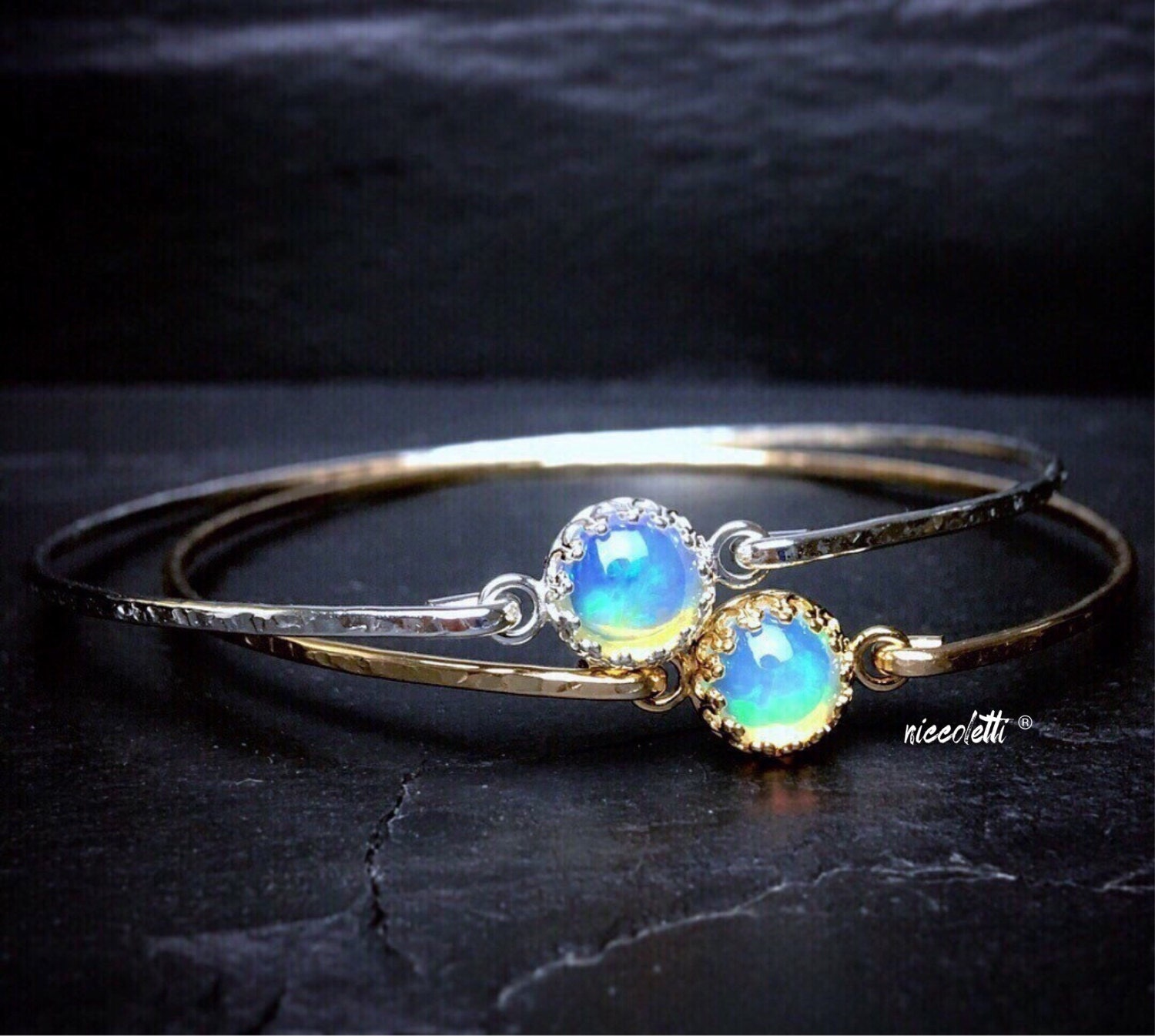 Ethiopian Welo Opal Bangle / Genuine Opal Bracelet / October Birthstone / Real Opal Jewelry / Libra Opal Bracelet / New Mom Jewelry