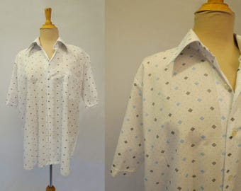 Diamond Pattern Sports Shirt, Casual Shirt