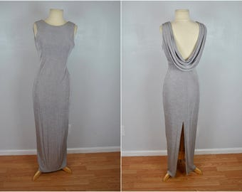 Silver Formal Gown With Back Drape, Vintage Silver Formal Dress