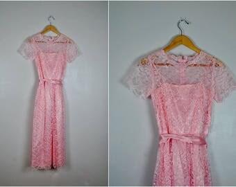 Vintage Pink Lace Dress, Romantic Pink Lace Dress,