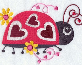 Love Bug with Daisies Embroidered on Made-to-Order Pillow Cover