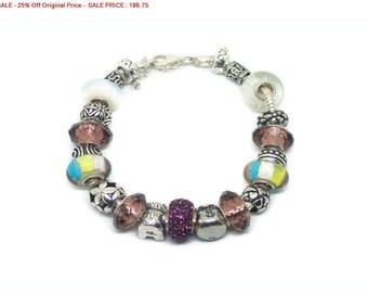 SALE - 25% Off Original Price Solid Sterling Silver, Crystal & Millefiori Beaded European Charm Bracelet, Size 6.75""