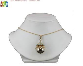 SALE - 60% Off Original Price.   Vintage Gold Tone Ball Pendant Necklace
