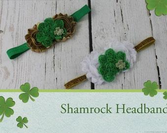 Shamrock Headband Baby Girl Green Gold Headband Newborn Headband St Patrick's Day Headband St Pattty's Day Headband Baby Girl Headband