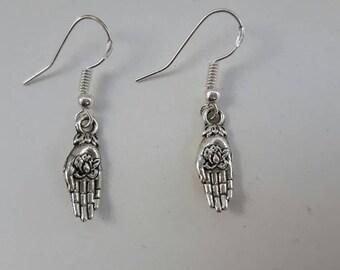 Palmistry hand earrings sterling silver hook