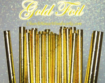 25 Gold  Paper Straws: Wedding, Baby Shower, Birthday Party, Bridal Shower, Wedding Venue, Table Decor, Gold Decor, Foil Gold