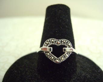 Vintage Silver Marcasite Heart Ring