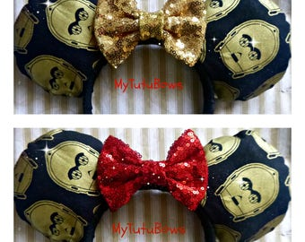 MINNIE MOUSE Ears Headband Star Wars C-3PO Inspired Fabric Ears with Gold Red Sequin Bow Fits Adults and Children Choose your Own Bow Color