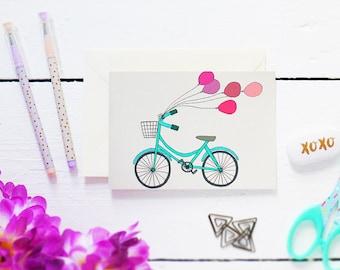SALE - HALF PRICE - Bike & Ballons - Postcard