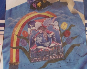 Love the Earth Iron-On Fabric Transfer by Plaid, No. 57980 Environmental/Earth-Friendly Themes, Mother Earth, Bitcoin Accepted