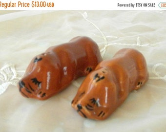 CYBER SALE Hound Dog Salt and Pepper Shakers, Brown, Stoppers are Missing, 1930's, Collectibles, Collector