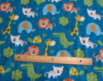 Blue Dot Jungle/Lion/Elephant/Giraffee/Tiger Flannel Fabric by the Yard
