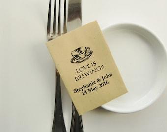 LOVE IS BREWING-Wedding Favor Ideas-Rustic Wedding Tea Packets-Rustic Wedding Favors-Wedding Favour Ideas-Weddings-Wedding Favors for Guests