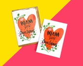 Mam you're awesome, Mother's day Illustrated Greeting Card, Hearts and Flowers Design
