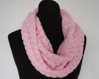 Pink Crochet Infinity Scarf