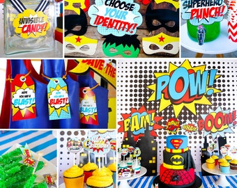 Boy Superhero Printable Party Decor - Superhero Party -Instant Download and Editable File - Personalize and Print at home with Adobe Reader