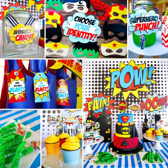 25 Best Ideas About Superhero Curtains On Pinterest: Boy Superhero Printable Party Decor Superhero Party Instant