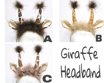 GIRAFFE HEADBAND, Giraffe Ears, Giraffe Costume, Safari Animal Party, Adult, Child, Toddler, Antlers, Jungle, Girl, Halloween, Woodland