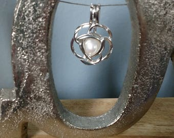 Sterling Silver Rose Flower Cage Pendant for Pearl **CAGE ONLY**