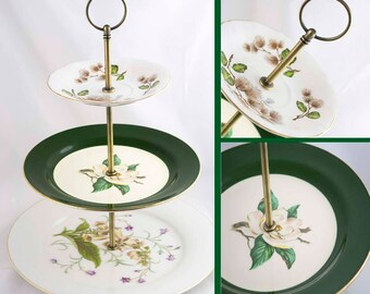 3 Tiered Cake Stand Green Floral Server Dessert Pastry Serving Tray Tea Party Decor Hostess Gift Noritake China Lily of the Valley