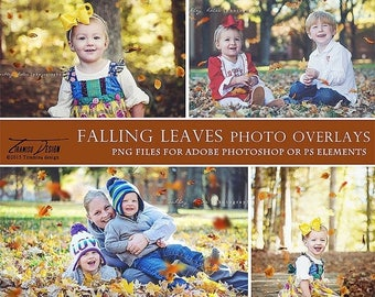 ON SALE Photography Falling Leaves Overlays, Fall Photo Overlays, INSTANT Download