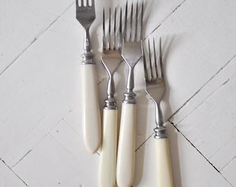 Vintage soviet forks with bone handles - set of 4