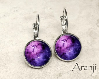 Purple nebula earrings, nebula jewelry, nebula leverback earrings, nebula earrings, space earrings, space jewelry, galaxy, nebula, SP108LB