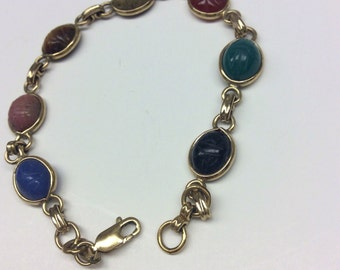 Vintage Egyptian Revival Bracelet with genuine stone scarabs in gold Filled