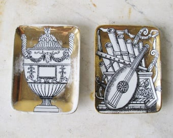 Two Vintage Porcelain Fornasetti Candy Dishes