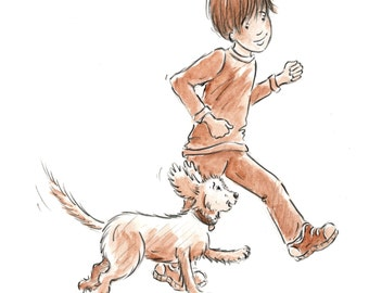 Toby and Boy Running - Original Drawing