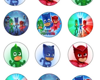 PJ Masks cupcake toppers or stickers favor tags digital download 2 inch circles collage pdf instant printable