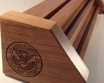 Cherry & Oak DHS Department of Homeland Security Challenge Coin Display Laser Engraved Holds up to 21 Coins
