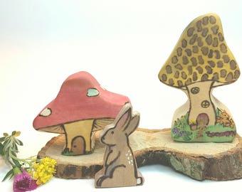 Morel Manor, Poplar wood brown toadstool faerie house