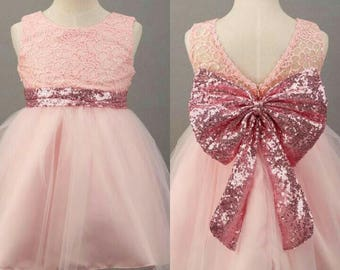 Pink Pageant lace dress | Lace dress with bowknots | Pink open back tulle dress.
