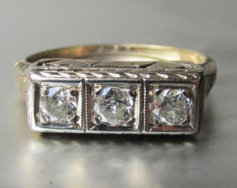 Vintage Art Deco 1920's 14k Gold Three Diamond Bar Ring