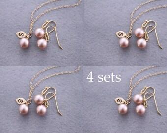 SET OF 3, 4, 5, 6, 7 - Bridesmaids gifts - Pearl Jewelry sets with Bracelet Earrings. Crystal jewelry, Pearl bracelet earrings rhinestone