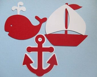 6 Nautical (3 size options) Theme Decorations, Diecut Cutouts, for Diaper Cake, Centerpiece, Birthday Party, Baby Shower, White and Red