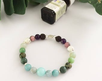 Essential Oil Bracelet, stretch bracelet, gemstone bracelet, diffuser bracelet, diffuser jewelry, Lava beads, beaded bracelet, rainbow