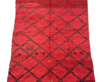 1980s vintage moroccan rug, bold red handwoven pure wool,   8 ft by 5ft 1