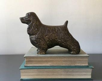vintage brass dog cocker spaniel figurine