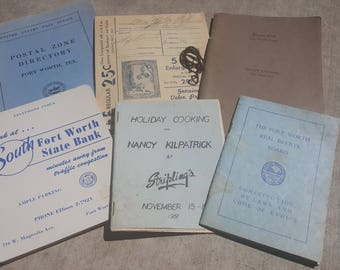 Collection of Fort Worth, Texas paper ephemera, six vintage paper items - Stripling's department store