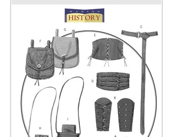 Butterick B5371 Wrist Bracers, Corset, Belt and Pouches Historical Accessories Costume Sewing Pattern