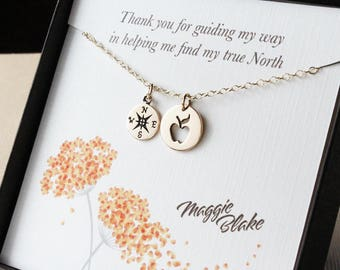 Mentor gift teacher gift gift for mentor gift for teacher mentor teacher gift apple necklace compass necklace mentor appreciation  gifts